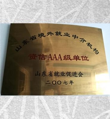 泰安资信AAA级单位
